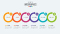 Vector 6 steps timeline infographic template with circular arrow
