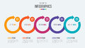 Vector 5 steps timeline infographic template with circular arrow