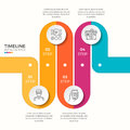 Vector 4 steps winding colorful timeline infographic template