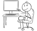 Vector Stick Man Cartoon of Man Pointing at Empty Computer Royalty Free Stock Photo