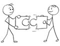 Vector Stick Man Cartoon of Two Men Holding a Large Jigsaw