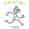 Vector stick man running fitness slogan healthy figure with stay active Royalty Free Stock Image