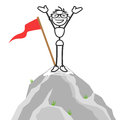 Vector stick man successful mountain top happy figure standing on Stock Photos