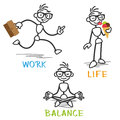 Vector stick man work life balance figure depicting Stock Images