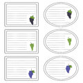 Vector sticker for notebook with grapes. Royalty Free Stock Photo