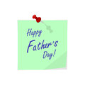 Vector sticker with pin and hand drawn lettering Happy Father`s Day. Template for Fathers Day designs.