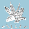 Vector Sticker Travel Destinations Royalty Free Stock Photo
