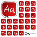 Vector stickers with hand drawing alphabet Stock Images