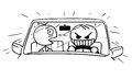 Vector Stickman Cartoon of Crazy Car Driver and Scared Front Royalty Free Stock Photo