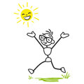 Vector stickman happy sunshine stick man and joyous stick figure running on meadow with laughing sun Stock Images