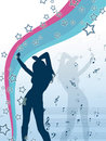 Vector stile girl with stars and music notes Royalty Free Stock Photo
