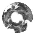 Vector stippled globe with world ocean relief.