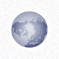 Vector stippled world stylized globe. North Pole.