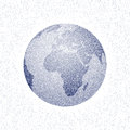Vector stippled world stylized globe. View of Africa.