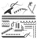 Vector stitches collection of different form and Royalty Free Stock Images