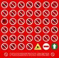 Vector stock illustration no set symbol prohibition set symbol icon set Royalty Free Stock Images