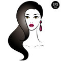 Vector Stock Woman with black hair. Beauty Girl Portrait with classic Hairstyle and Earrings Royalty Free Stock Photo