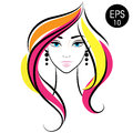 Vector Stock Woman Face. Beauty Girl Portrait with Colorful hair Royalty Free Stock Photo