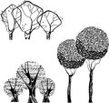Vector stok set of trees isolated illustration black graphic Stock Images