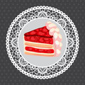 Vector strawberry cake on gray this is file of eps format Royalty Free Stock Photography
