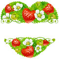 Vector strawberry frame in the shape of heart Royalty Free Stock Photo