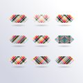 Vector striped squares set of colorful icons collection of modern design elements Royalty Free Stock Image