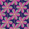 Vector stylized flowers seamless pattern repeat on dark blue background.
