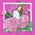Vector stylized illustration with the image of a young pretty girl depicted in the colors of peonies. Fashion