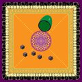 Vector Stylized Pattern of Orange Dice Mat, Cup for Stirring and Throwing. Possible Use in Design Solution Royalty Free Stock Photo