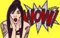 Vector subculture pop art surprised woman face with open mouth. Comic gothic, punk girl with speech bubble. Eps 10