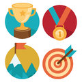 Vector success concepts victory bowl goal medal summit icons and illustrations in flat style Stock Image
