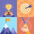 Vector success concepts victory bowl goal medal summit icons and illustrations in flat style Royalty Free Stock Photography
