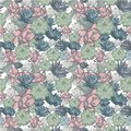 Succulent set of seamless vector patterns in pastel colors