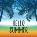 Vector summer background with ocean and palms
