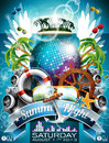 Vector summer beach party flyer design with disco ball and shipping elements on tropical background Royalty Free Stock Images