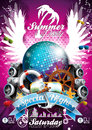 Vector summer beach party flyer design with disco ball and shipping elements on tropical background eps illustration Stock Photo
