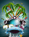 Vector summer beach party flyer design with disco ball and speakers on tropical sea background Stock Photo