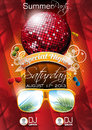 Vector summer beach party flyer design with disco ball and sunglasses on red background eps illustration Royalty Free Stock Images