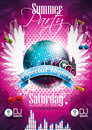 Vector summer beach party flyer design with disco ball and wings on pink background eps illustration Stock Photo