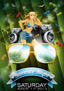 Vector summer beach party flyer design with sexy girl and sunglasses on green background Stock Photos