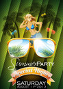 Vector summer beach party flyer design with sexy girl and sunglasses on green background eps illustration Royalty Free Stock Image
