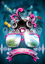 Vector summer beach party flyer design with speakers and sunglasses on blue background Stock Photos