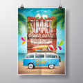 Vector summer beach party flyer design with travel van and surf board on ocean landscape background typographic design on vintage Royalty Free Stock Images