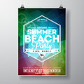 Vector summer beach party flyer design with typographic elements on color triangle background eps illustration Stock Images