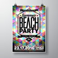 Vector summer beach party flyer design with typographic elements and copy space on color triangle background eps illustration Royalty Free Stock Images
