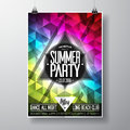 Vector summer beach party flyer design with typographic elements and copy space on color triangle background eps illustration Royalty Free Stock Photography