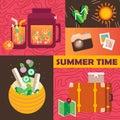 Vector summer day elements set