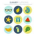 Vector Summer flat icon set