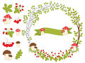 Vector Summer Forest Set with Wreath, Mushrooms, Leaves and Berries