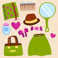 Vector summer girl clothing and accessories isolated shopping items and beautiful cosmetic or makeup.